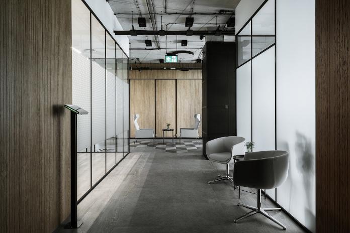 biuro Stalgastu Centrum Praskim Koneser krzesło blat szkło drewno