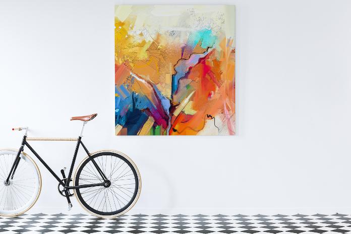 Abstrakcja kolorowy obraz biała ściana mozaika podłodowa rower inspiracje
