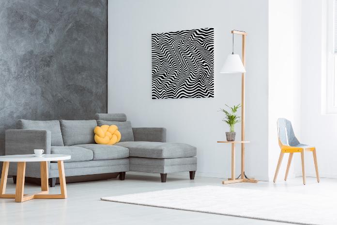 Obraz abstrakcja czarno-biały beton kanapa stolik lampa dywan skandynawski styl