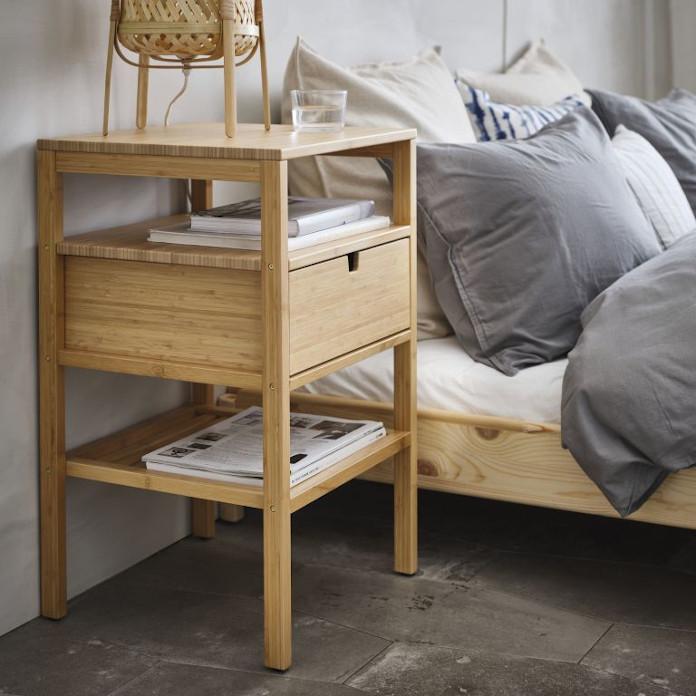 Stolik nocny kolekcje ikea bambus sypialnia łóżko pościel styl skandynawski