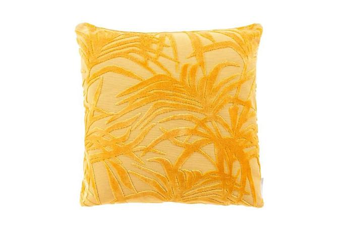 welurowa żółta poduszka ze wzorem jedwabny aksamit