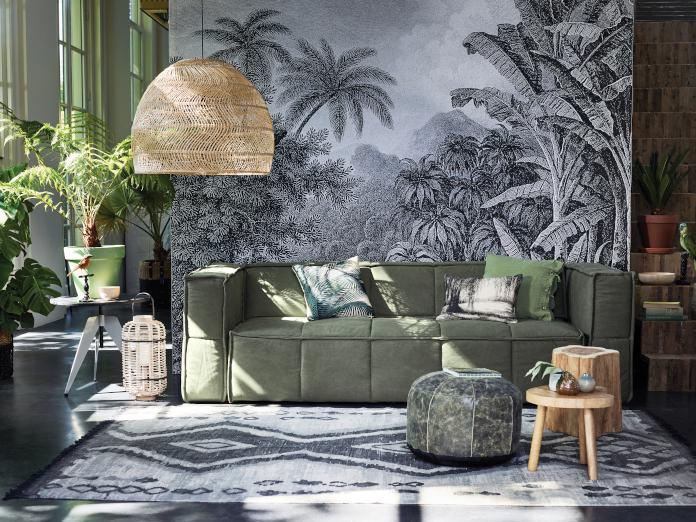 zieleń we wnętrzu drewno inspiracje 9design pleciona lampa kanapa
