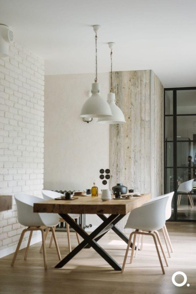 studio o inspiracje biel drewno stal jadalnia kuchnia stół