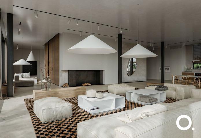 studio o inspiracje biel beton kanapa kominek salon