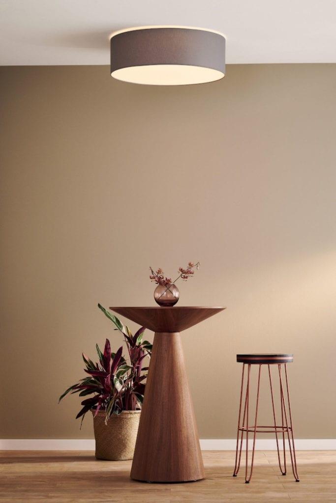plafon lampa sufitowa okrągła inspiracje drewno beż taupe stolik krzesło trendy wnętrzarskie roślina