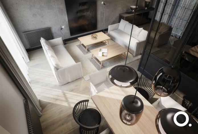 białe-wnętrza-z-drewnem-pokój-dzienny-połączony-z-jadalnią-inspiracje-duży-jadalny-stół-z-czrnymi-drewnainymi-krzesłami-i-wiszące-czarne-lampy-nad-nim