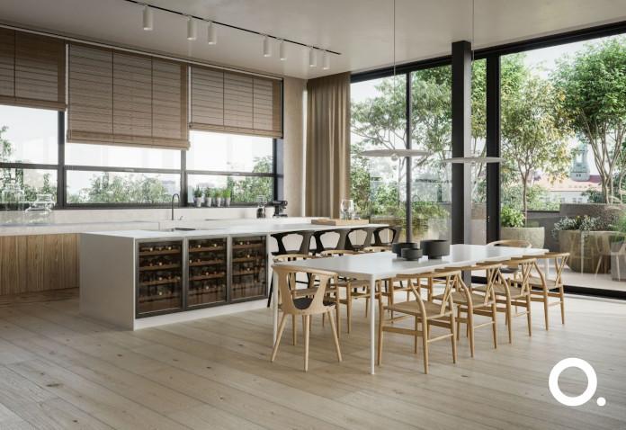 białe-wnętrza-z-drewnem-realizacja-kuchni-z-wyspą-duży-jadalny-stół-isnpriacje-okna-panoramiczne