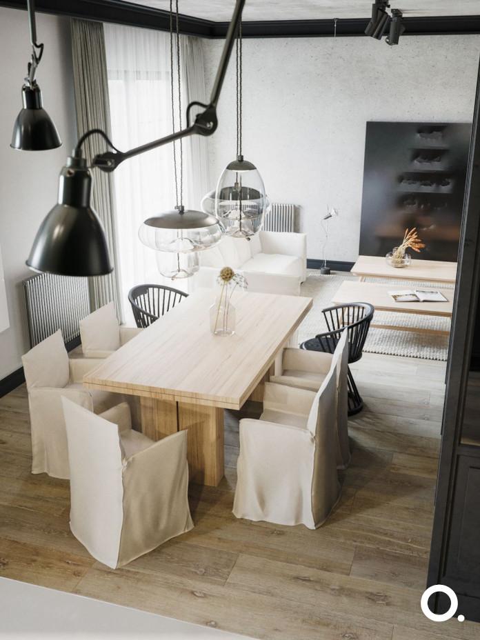 studioo.-inspiracje-stół-drewnainy-na-środku-pokoju-lampa-wisząca-pod-sufite-krzesła-do-jadalni-inspiracje-drewno