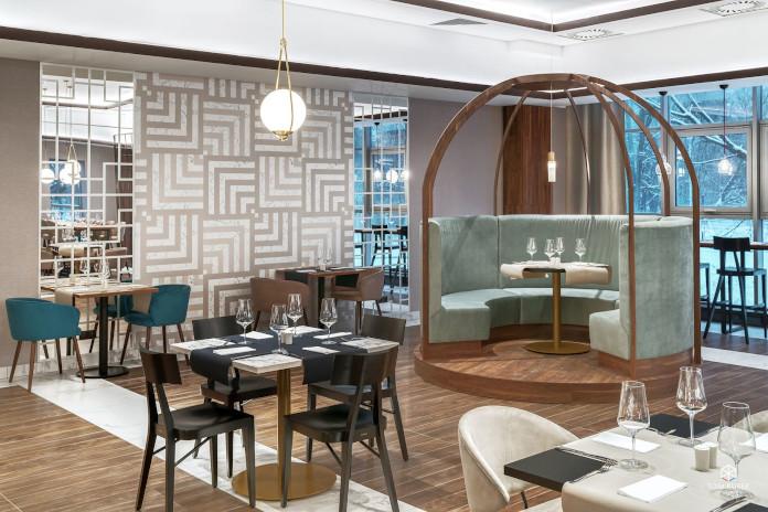 Tremend: Metropolo by Golden Tulip drewno parkiet lobby inspiracje hall restauracja