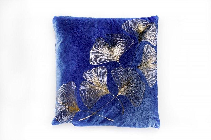 classic-blue-poduszka-niebieska-welur-ze-złotym-wzorem