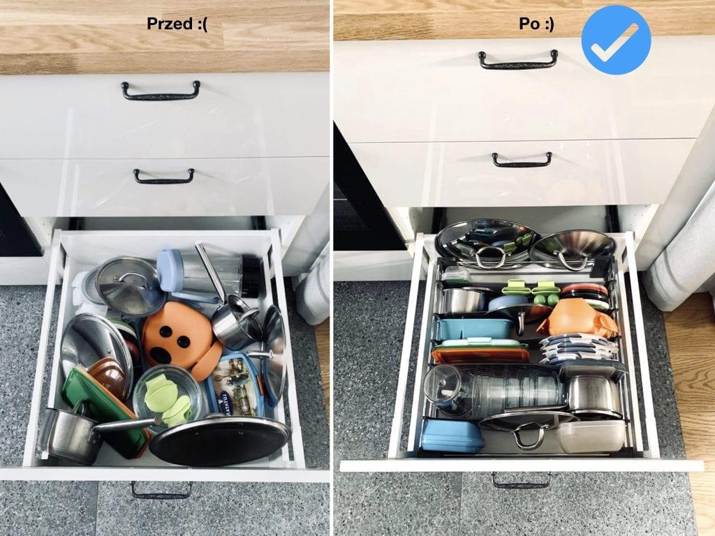Porządek w kuchni przechowywanie w szufladzie Space Flex Peka segregacja