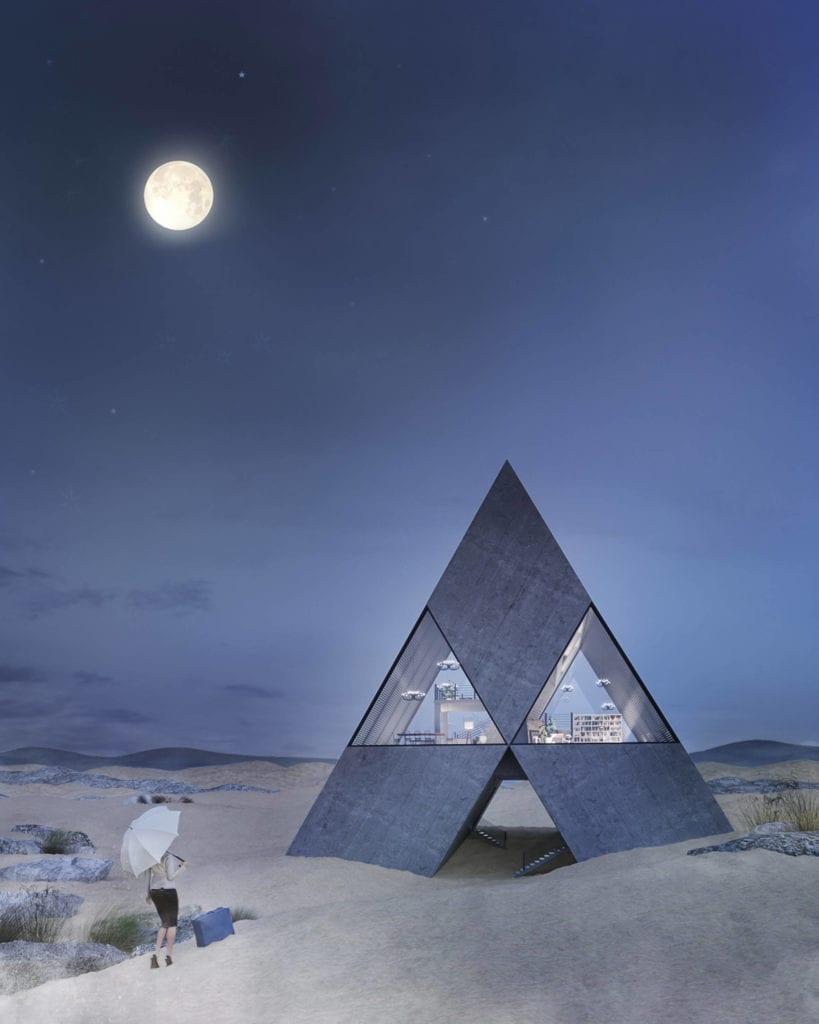 projekt-domu-w-kształcie-logo-Mitsubishi-inspiracje