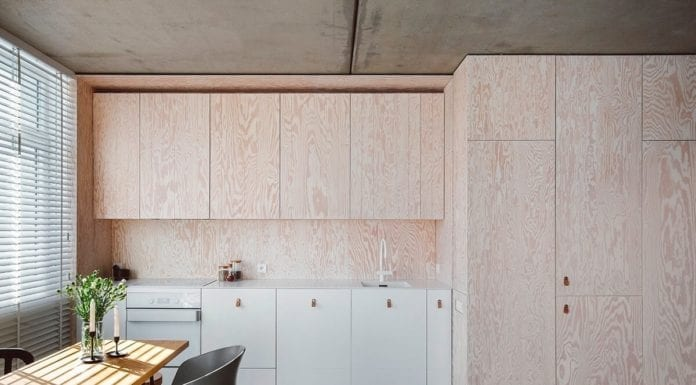 minimalizm, kuchnia-ze-sklejki-inspiracje-jadalnia