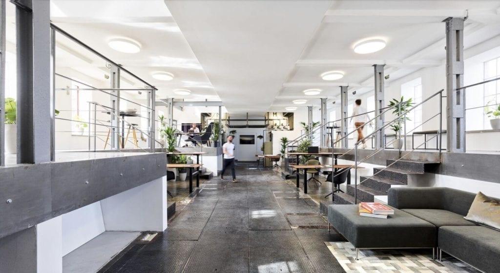 biuro-agencji-kreatywnej-wystrój-industrialny-przytulne-wnętrze-duński-styl
