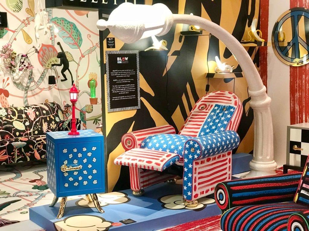 pop-art-inspiracje-wnętrza-2020-fotel-do-leżenia-rorkładany-abstrakcja