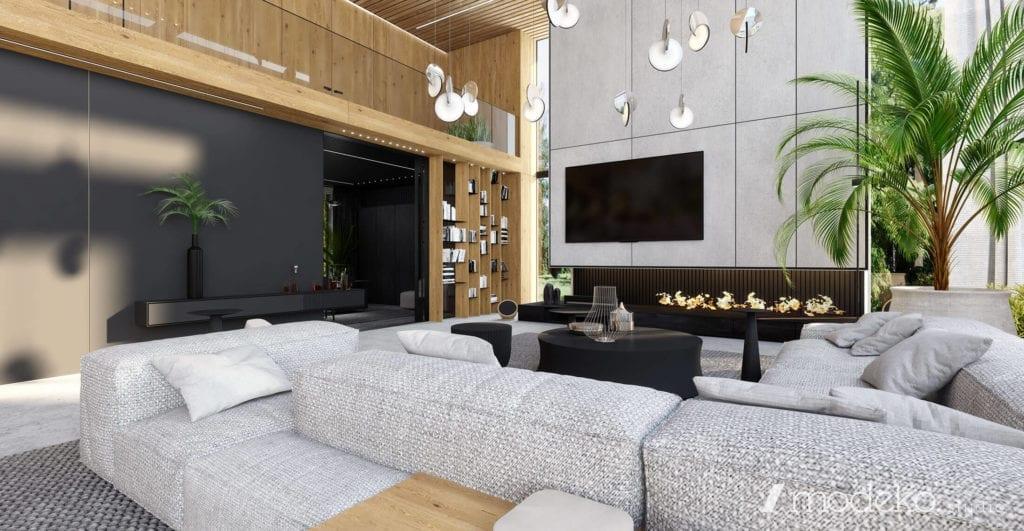 beton-inspiracje-najlepsze-wnętrza-pod-warszawą-szarość-czerń-drewno-salon-z-kominkiem-duża-kanapa