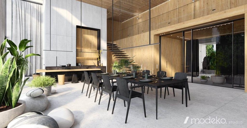 beton-inspiracje-najlepsze-wnętrza-pod-warszawą-szarość-czerń-drewno-jadalnia-kuchnia-krzesła-stół