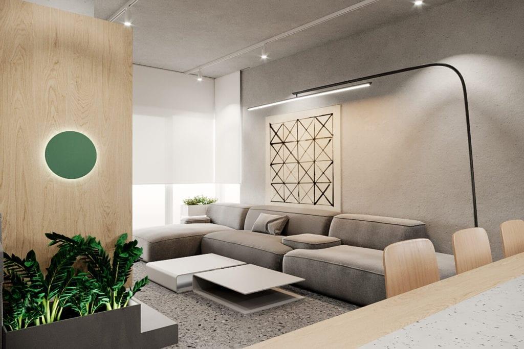 wnętrze-inspiracje-drewno-biel-beż-kanapa-zieleń-beton-we-wnętrzu