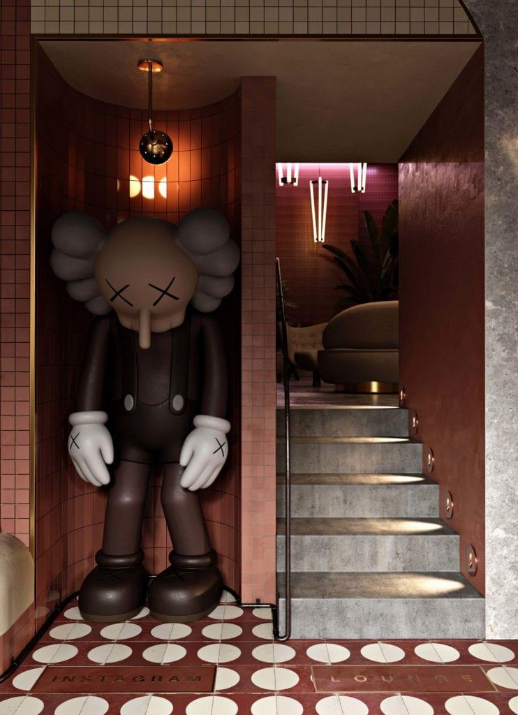 restauracja-w-budapeszcie-neon-schody-płytki-rzeźba-KAWS