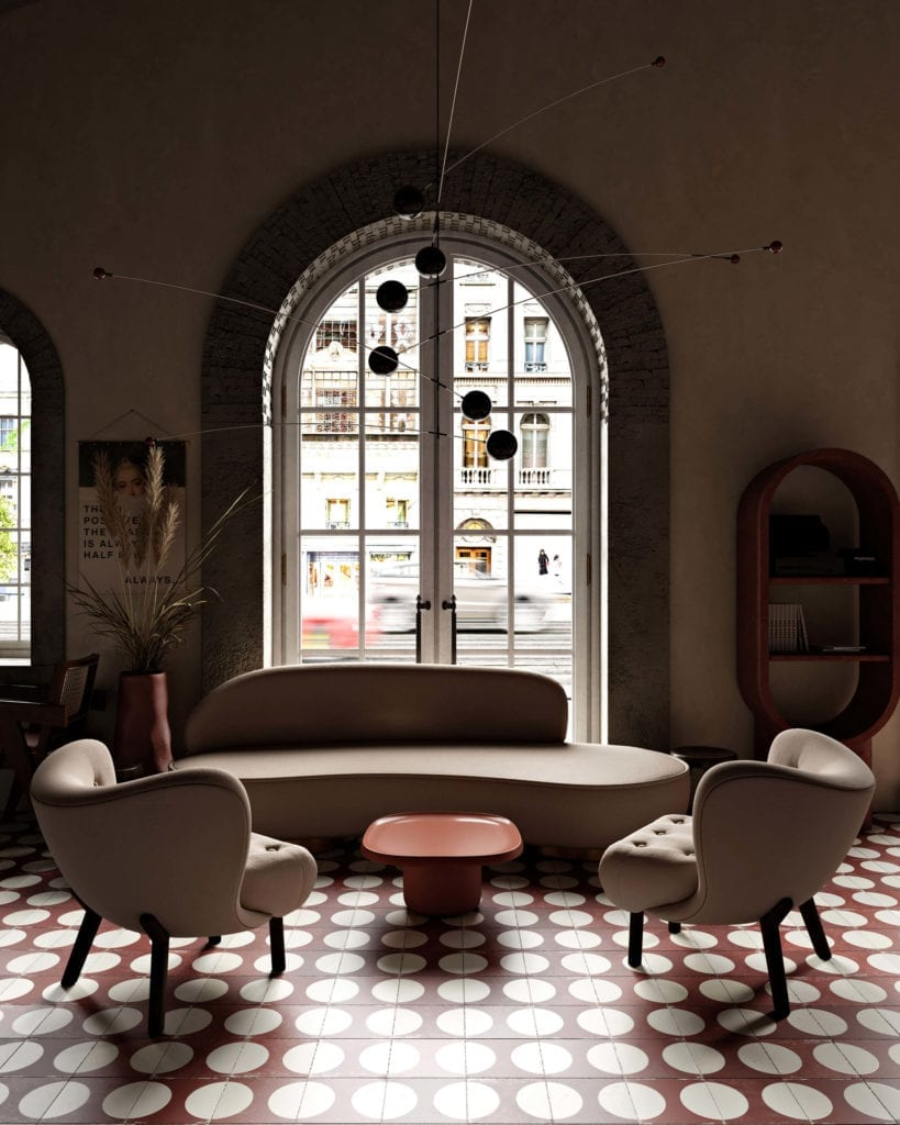 wnętrze-restauracji-fotele-okno-łuk-inspiracje