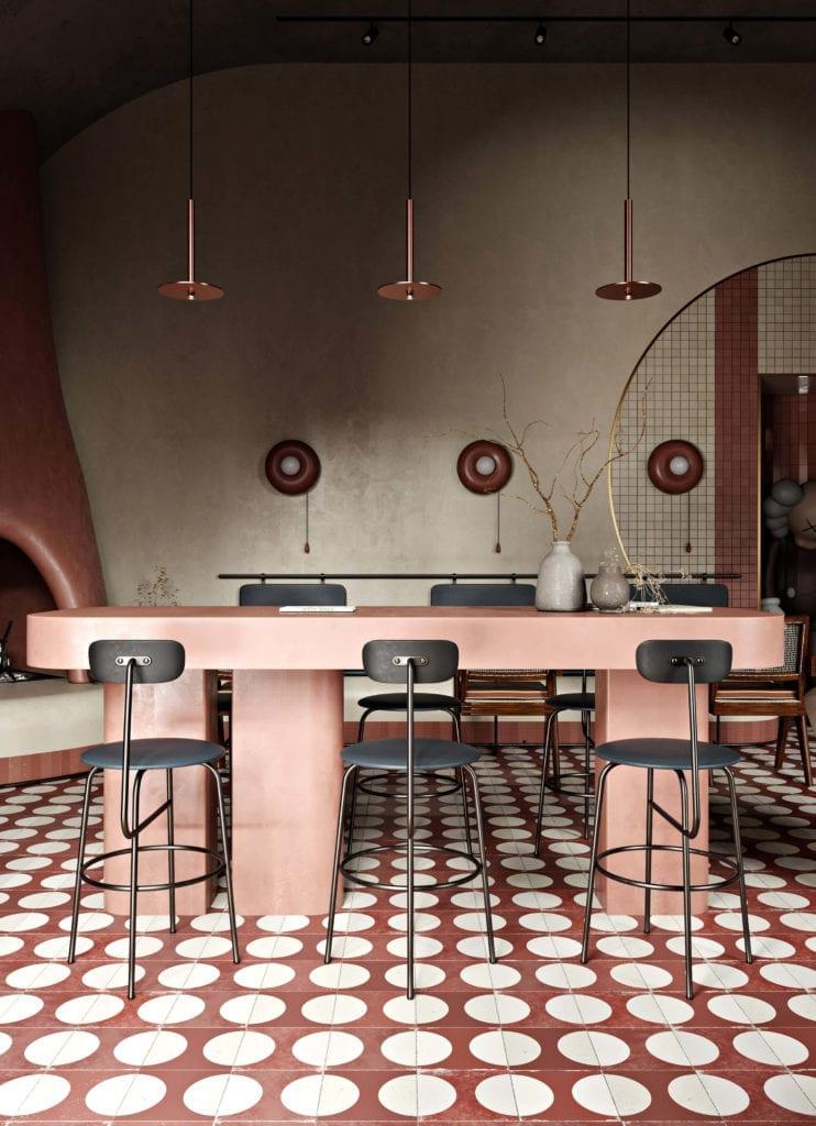 wnętrze-restauracji-trendy-2020-fotele-krzesła-pierre-jeanneret-terrakota