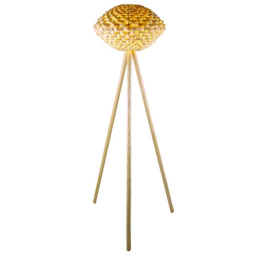 Lampa podłogowa z bambusowym abażurem