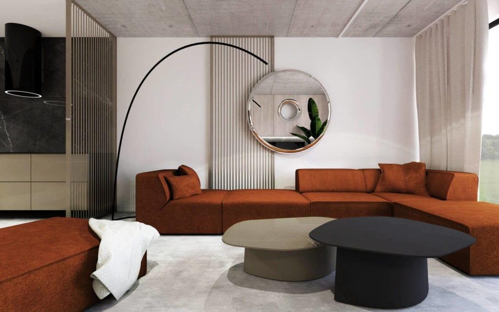 najlepsze-wnętrza-apartamekt-w-bielso-białj-pomarańczowa-kanapa-beton-lustro-drewno-inspiracje
