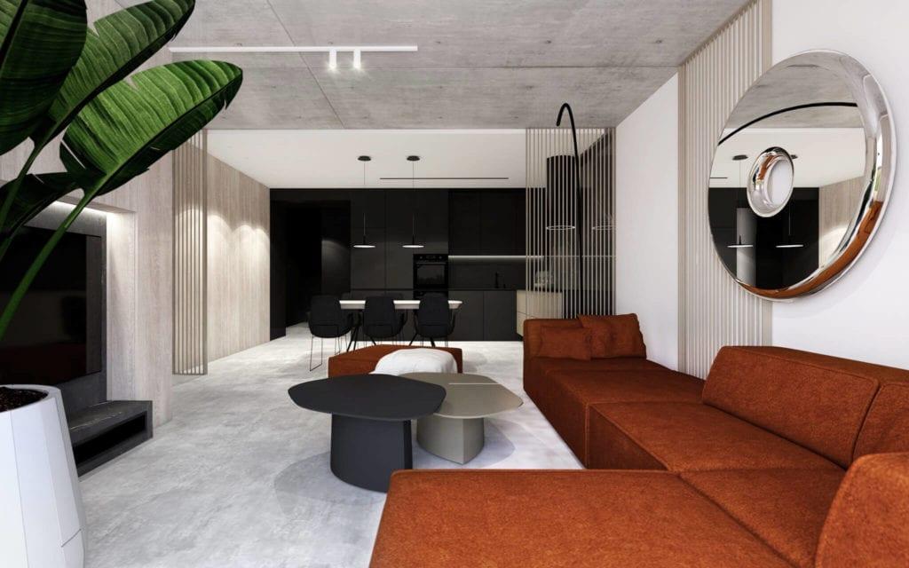 najlepsze-wnętrza-apartamekt-w-bielso-białj-pomarańczowa-kanapa-beton-lustro-drewno-inspiracje-zieta-design-polski-projekt-boconcept-kuchnia