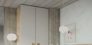 Pap-deco-uchwyt-mosiężny-w-kształcie-liścia-bananowca-inspiracje-sypialnia-szafa-łóżko-drewno-jasne-kolory