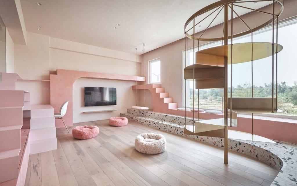 różowe-ściany-pokój-dla-kotów-lastryko-drewno