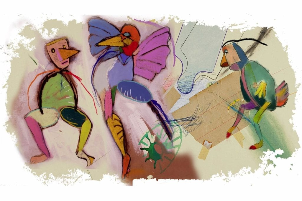 Obraz-płótno-inpiracje-dzieło-Targi-Sztuki-Dostęonej-Andrzej-Dudziński-Trójkąt-radosny- z-cyklu-I-znowu-daliśmy-się-zaskoczyć