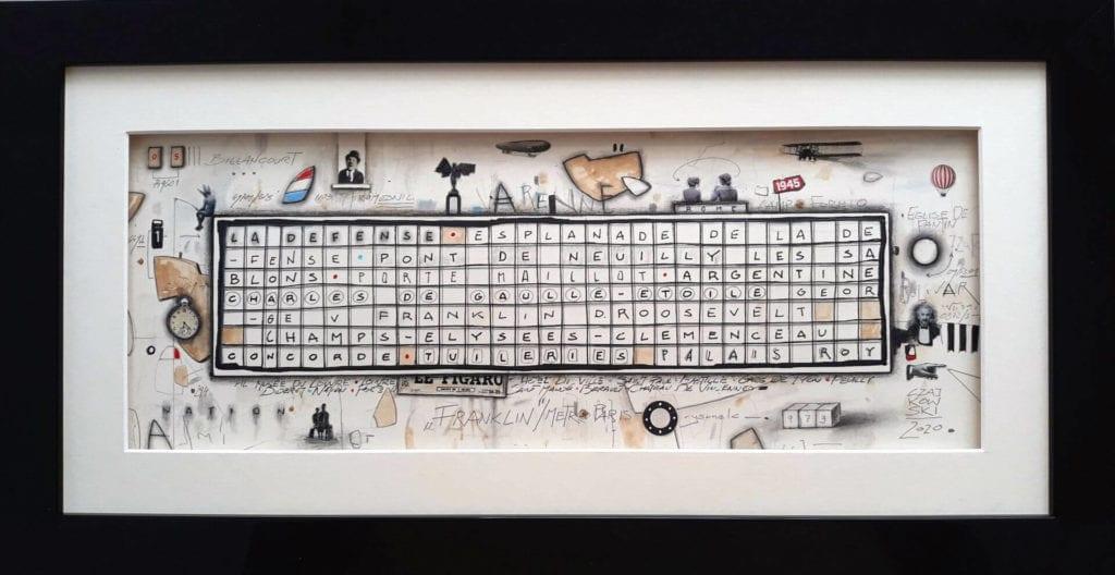 Dzieło-obraz-inspiracje-Czajkowski-Piotr-Franklin-z-cyklu-METRO-rysunek-technika-własna