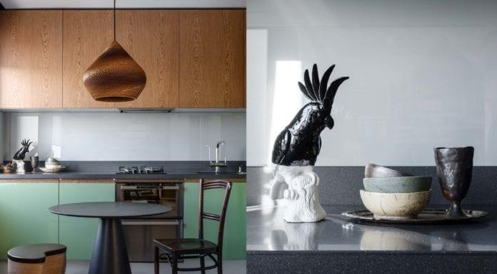 nietypowe-wnętrze-inspiracje-kuchnia-zielone-fronty-fornir-stół-jadalnia