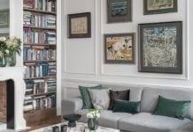 nowoczesna-klasyka-mieszkanie-wnętrze-inspiracje-salon-kanapa-sztukateria-obrazy-białe-ściany