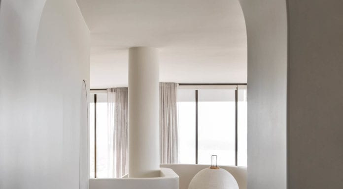 Penthaus-apartamenty-fotel-wnętrze-biel-beż-inspiracje-lampa-łuk