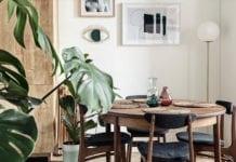 mieszkanie-z-duszą-inspiracje-stół-krzesła-rośliny-wnętrze-lampa