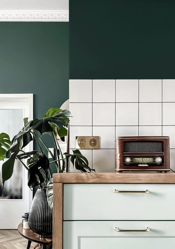 detale-w-kuchni-płytki-inspiracje-szafka-kuchnenna-rośliny-monstera-zieleń-płytki-prl