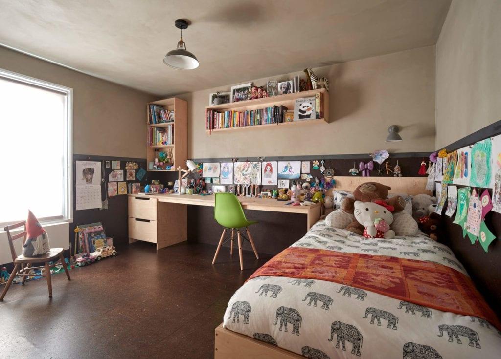 sypialnia-pokój-dla-dzeici-korek-podłoga-pomysły-łóżko-biurko