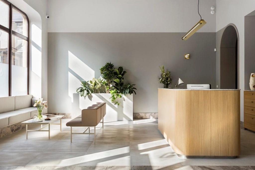wnętrze-publiczne-hal-recepcja-przychodnia-drewno-kamień-rośliny-inspiracje