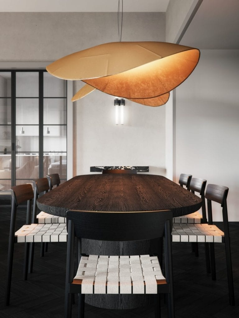 hiszpańskie-wnętrze-apartament-studio-o-stół-jadalnia-projekt-lampa-krzesło