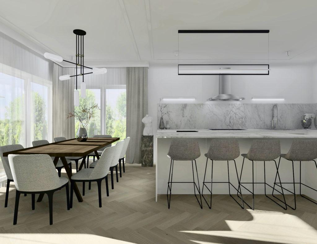 Realizacja-projektu-domu-#domprojektantkiwnętrz aranżacja kuchni, wyspa kuchenna, jadalnia