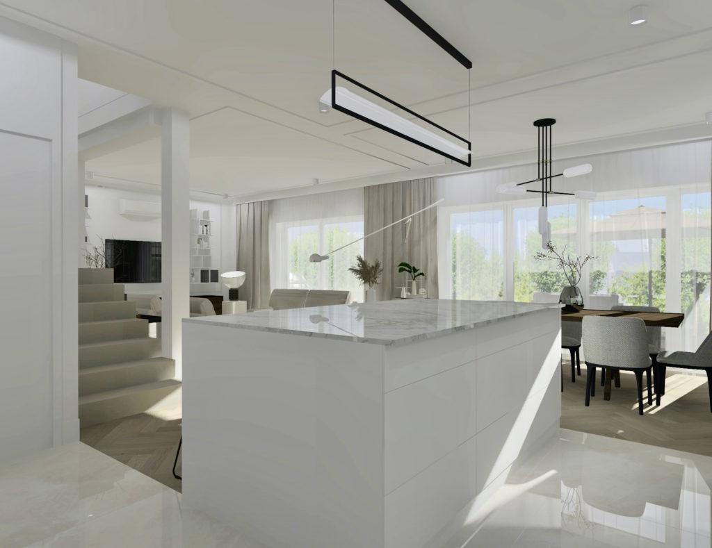 Realizacja-projektu-domu-#domprojektantkiwnętrz aranżacja kuchni, wyspa kuchenna