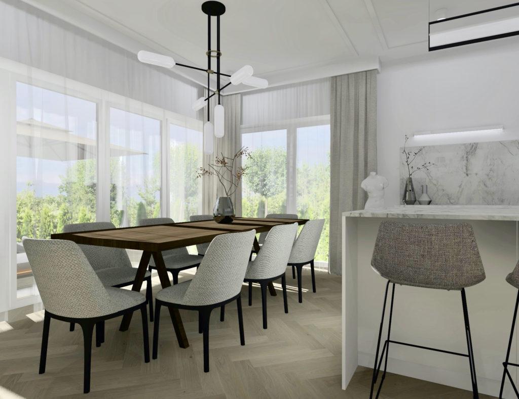 Realizacja-projektu-domu-#domprojektantkiwnętrz aranżacja kuchni, jadalnia, krzesła do jadalni