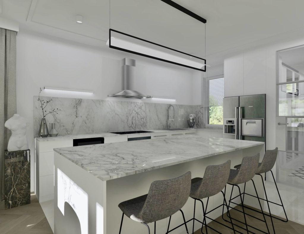 Realizacja projektu domu-#domprojektantkiwnętrz aranżacja kuchni, jadalnia, krzesła barowe, hokery