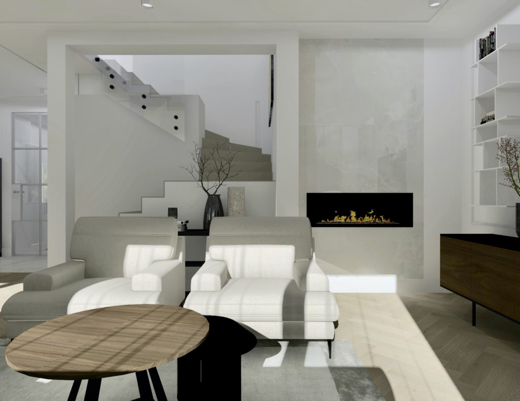 Jak-urządzić-duży-salon-z-jadalnią #domprojektantkiwnętrz kominek Dekton Helena Cosentino