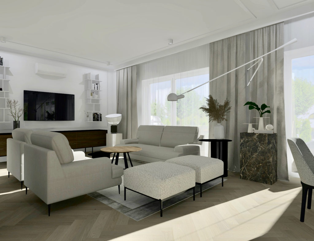Jak-urządzić-duży-salon-z-jadalnią #domprojektantkiwnętrz sofa fotele podnóżki podłoga deska barlinecka jodła klasyczna