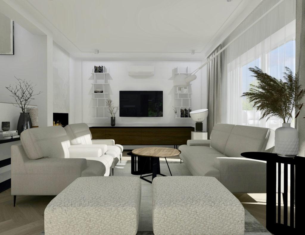 Jak-urządzić-duży-salon-z-jadalnią #domprojektantkiwnętrz beżowa sofa fotele podnóżki jadalnia